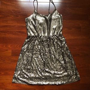 Express champagne sequence party dress